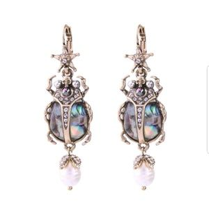 Jewelry - Crystal Beetle Statement Earrings with Faux Pearl